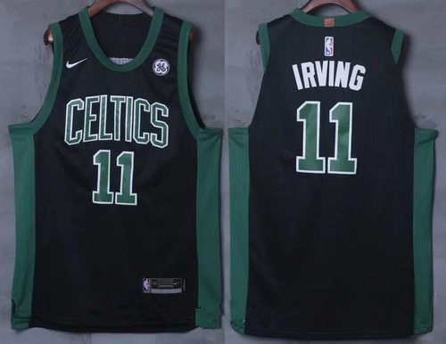 Men's Boston Celtics #11 Kyrie Irving Black 2017-2018 Nike Swingman General Electric Stitched NBA Jersey