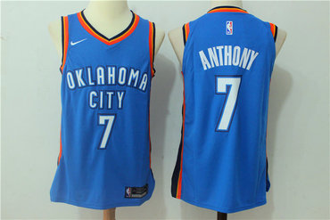 Men's Oklahoma City Thunder #7 Carmelo Anthony New Royal Blue 2017-2018 Nike Swingman Stitched NBA Jersey