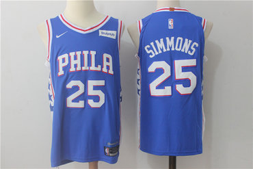 Men's Philadelphia 76ers #25 Ben Simmons New Royal Blue 2017-2018 Nike Swingman Stitched NBA Jersey