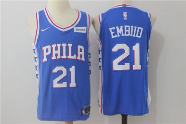 Men's Philadelphia 76ers #21 Joel Embiid New Royal Blue 2017-2018 Nike Swingman Stitched NBA Jersey