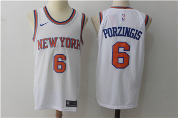 Men's Nike New York Knicks #6 Kristaps Porzingis White Stitched NBA Jersey
