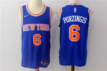 Men's Nike New York Knicks #6 Kristaps Porzingis Blue Stitched NBA Jersey