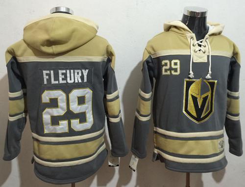 Men's Vegas Golden Knights #29 Marc-Andre Fleury Grey Gold Name & Number Pullover NHL Hoodie