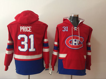 Men's Montreal Canadiens #31 Carey Price NEW Red Pocket Stitched NHL Old Time Hockey Hoodie