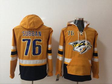 Men's Nashville Predators #76 P. K. Subban NEW Yellow Pocket Stitched NHL Old Time Hockey Hoodie