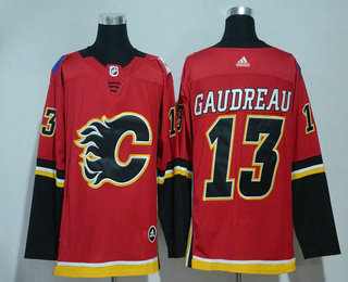Men's Calgary Flames #13 Johnny Gaudreau Red Home 2017-2018 Hockey Stitched NHL Jersey