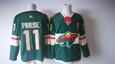 Men's Minnesota Wild #11 Zach Parise Green 2017-2018 Hockey Stitched NHL Jersey
