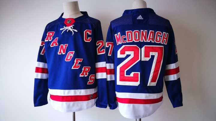 Men's New York Rangers #27 Ryan McDonagh Royal Blue Home 2017-2018 Hockey Stitched NHL Jersey