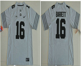 Men's Ohio State Buckeyes #16 J.T. Barrett Gridiron Gray Stitched College Football Nike NCAA Jersey
