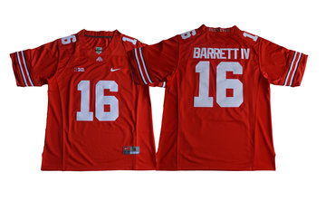 Men's Ohio State Buckeyes #16 J.T. Barrett IV Red Limited Stitched NCAA 2016 Nike College Football Jersey