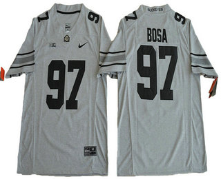 Men's Ohio State Buckeyes #97 Joey Bosa Gridiron Gray II Limited Stitched College Football Nike NCAA Jersey