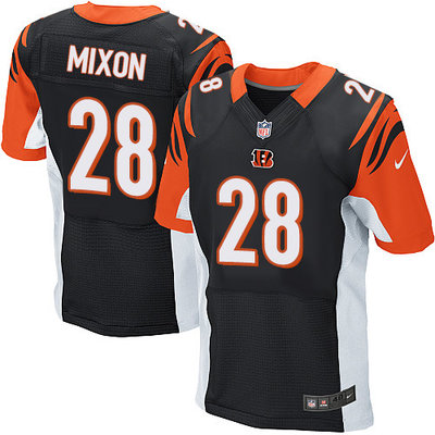 Men's Nike Cincinnati Bengals #28 Joe Mixon Black Team Color Men's Stitched NFL Elite Jersey