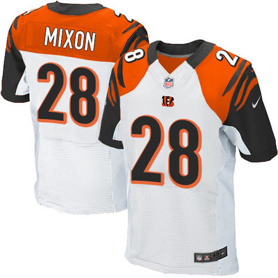 Men's Nike Cincinnati Bengals #28 Joe Mixon White Men's Stitched NFL Elite Jersey