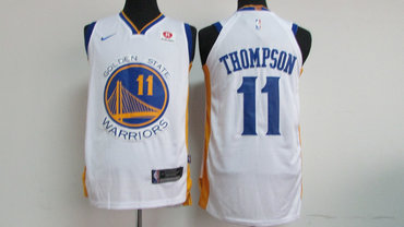 Men's Golden State Warriors #11 Klay Thompson White 2017-2018 Nike Swingman Rakuten Stitched NBA Jersey