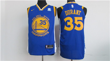 Nike Golden State Warriors #35 Kevin Durant Blue 2017-2018 Stitched NBA Jersey