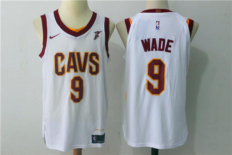 Men's Cleveland Cavaliers #9 Dwyane Wade White 2017-2018 Nike Swingman Goodyear Stitched NBA Jersey