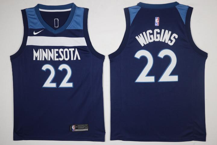 Men's Minnesota Timberwolves #22 Andrew Wiggins New Navy Blue 2017-2018 Nike Swingman Stitched NBA Jersey