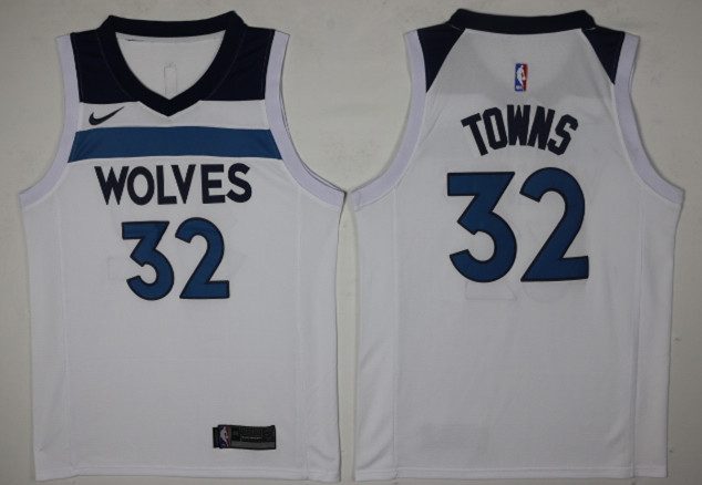 Men's Minnesota Timberwolves #32 Karl-Anthony Towns New White 2017-2018 Nike Swingman Stitched NBA Jersey