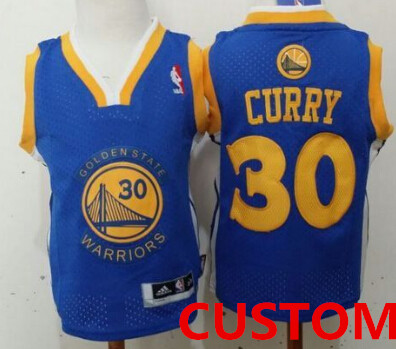 Custom Golden State Warriors Blue Toddlers Jersey
