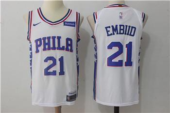 Men's Philadelphia 76ers #21 Joel Embiid White Nike Stitched NBA Jersey