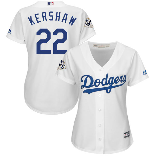 Women's Los Angeles Dodgers #22 Clayton Kershaw White 2017 World Series Bound Cool Base Player Jersey