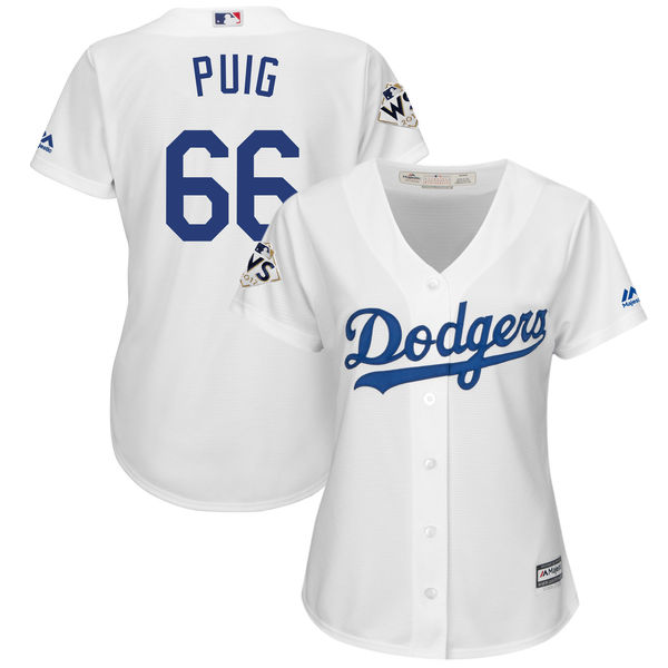 Women's Los Angeles Dodgers #66 Yasiel Puig White 2017 World Series Bound Cool Base Player Jersey