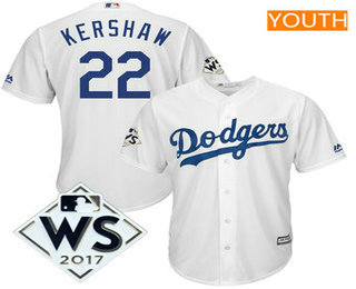 Youth Los Angeles Dodgers Clayton Kershaw Majestic White 2017 World Series Patch Cool Base Player Jersey