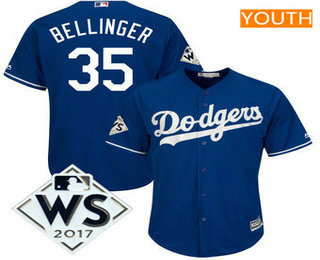 Youth Los Angeles Dodgers Cody Bellinger Majestic Royal 2017 World Series Patch Cool Base Player Jersey