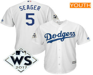 Youth Los Angeles Dodgers Corey Seager Majestic White 2017 World Series Patch Cool Base Player Jersey