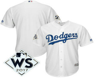 Men's Los Angeles Dodgers Majestic White 2017 World Series Patch Cool Base Team Jersey
