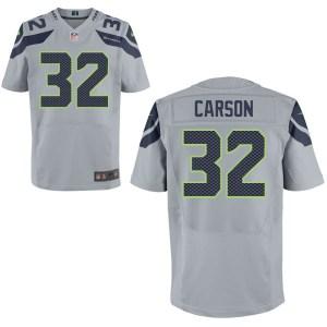 Men's Nike Seattle Seahawks #32 Chris Carson Elite Gray Jersey