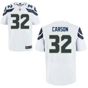 Men's Nike Seattle Seahawks #32 Chris Carson Elite White Jersey