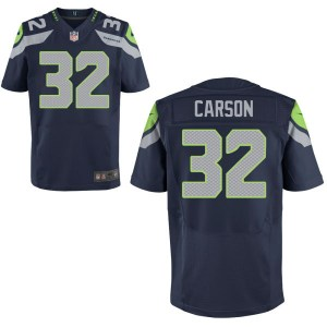 Men's Nike Seattle Seahawks #32 Chris Carson Elite Navy Blue Jersey