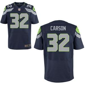 Men's Nike Seattle Seahawks #32 Chris Carson Elite Navy Blue Jersey