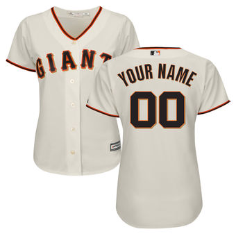 Women's San Francisco Giants Majestic Cream Home Cool Base Custom Jersey