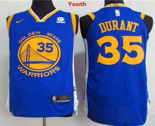 Youth Golden State Warriors #35 Kevin Durant Royal Blue 2017-2018 Nike Swingman Rakuten Stitched NBA Jersey