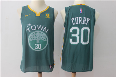 Men's Golden State Warriors #30 Stephen Curry Dark Green 2017-2018 Nike Swingman Rakuten Stitched NBA Jersey