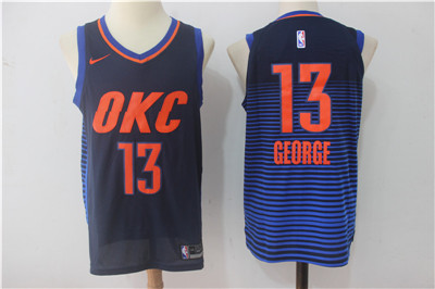 Men's Oklahoma City Thunder #13 Paul George Navy Blue 2017-2018 Nike Swingman Stitched NBA Jersey
