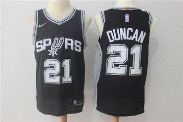 Men's San Antonio Spurs #21 Tim Duncan Black 2017-2018 Nike Swingman Stitched NBA Jersey