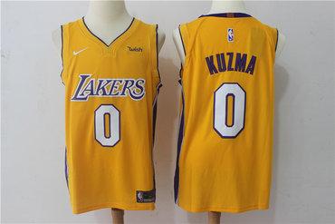 Men's Los Angeles Lakers #0 Kyle Kuzma New Yellow 2017-2018 Nike Swingman Wish Stitched NBA Jersey