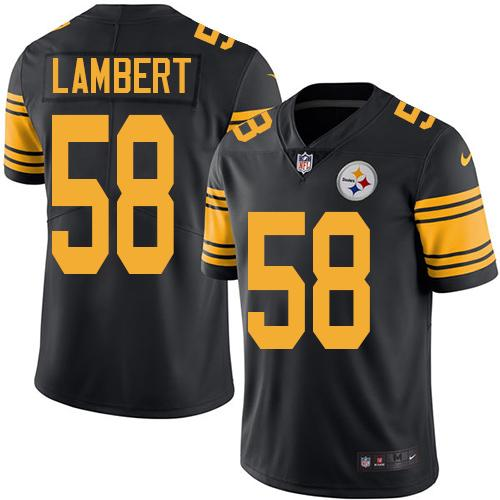 Youth Nike Steelers #58 Jack Lambert Black Stitched NFL Limited Rush Jersey