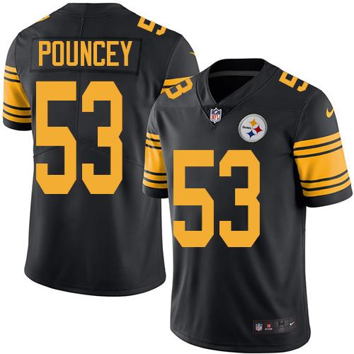 Youth Nike Steelers #53 Maurkice Pouncey Black Stitched NFL Limited Rush Jersey