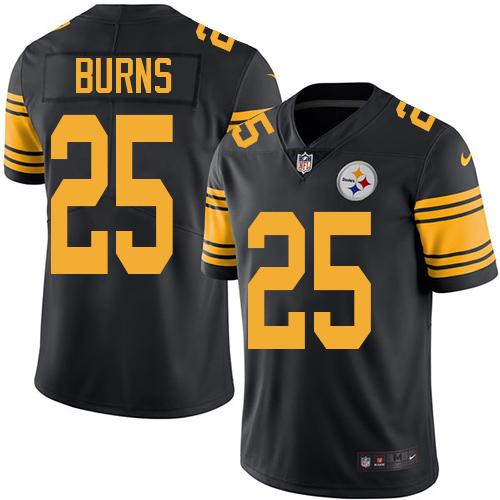 Youth Nike Steelers #25 Artie Burns Black Stitched NFL Limited Rush Jersey