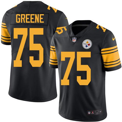 Youth Nike Steelers #75 Joe Greene Black Stitched NFL Limited Rush Jersey