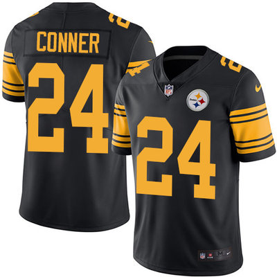 Youth Nike Steelers #24 James Conner Black Stitched NFL Limited Rush Jersey