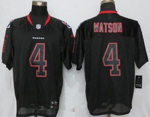Men's 2017 NFL Draft Houston Texans #4 Deshaun Watson Lights Out Black Stitched NFL Nike Elite Jersey