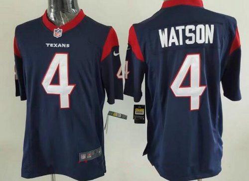 Men's 2017 NFL Draft Houston Texans #4 Deshaun Watson Navy Blue Alternate Stitched NFL Nike Elite Jersey