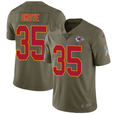 Nike Kansas City Chiefs #35 Christian Okoye Olive Men's Stitched NFL Limited 2017 Salute to Service Jersey