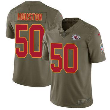 Nike Kansas City Chiefs #50 Justin Houston Olive Men's Stitched NFL Limited 2017 Salute to Service Jersey