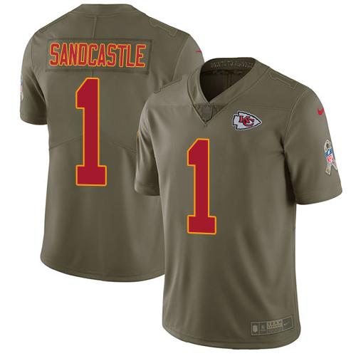 Nike Kansas City Chiefs #1 Leon Sandcastle Olive Men's Stitched NFL Limited 2017 Salute to Service Jersey